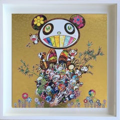 Offset print - Panda Family (Gold)  - complimentary framing in LA