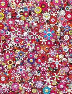 Offset print - Skulls and Flowers Red 2013 - custom framed silver Or white