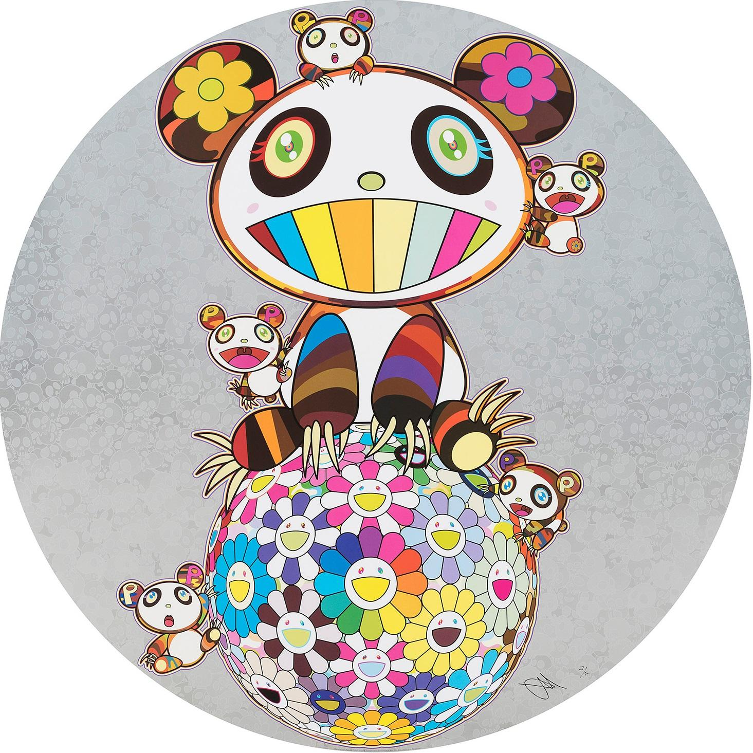 Panda with Panda Cubs (2019). Limited Edition (print) by Murakami signed, framed