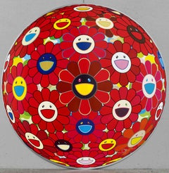 Red Flowerball. Limited Edition (print) by Takashi Murakami signed and numbered.