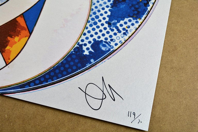 And Then x 6 (Blue: The Polke Method) Date of creation: 2015 Medium: Offset lithograph with silver Media: Paper Edition: 300 Size: 50 x 50 cm Observations: Offset lithograph with silver on paper hand signed by Takashi Murakami. Numbered edition of