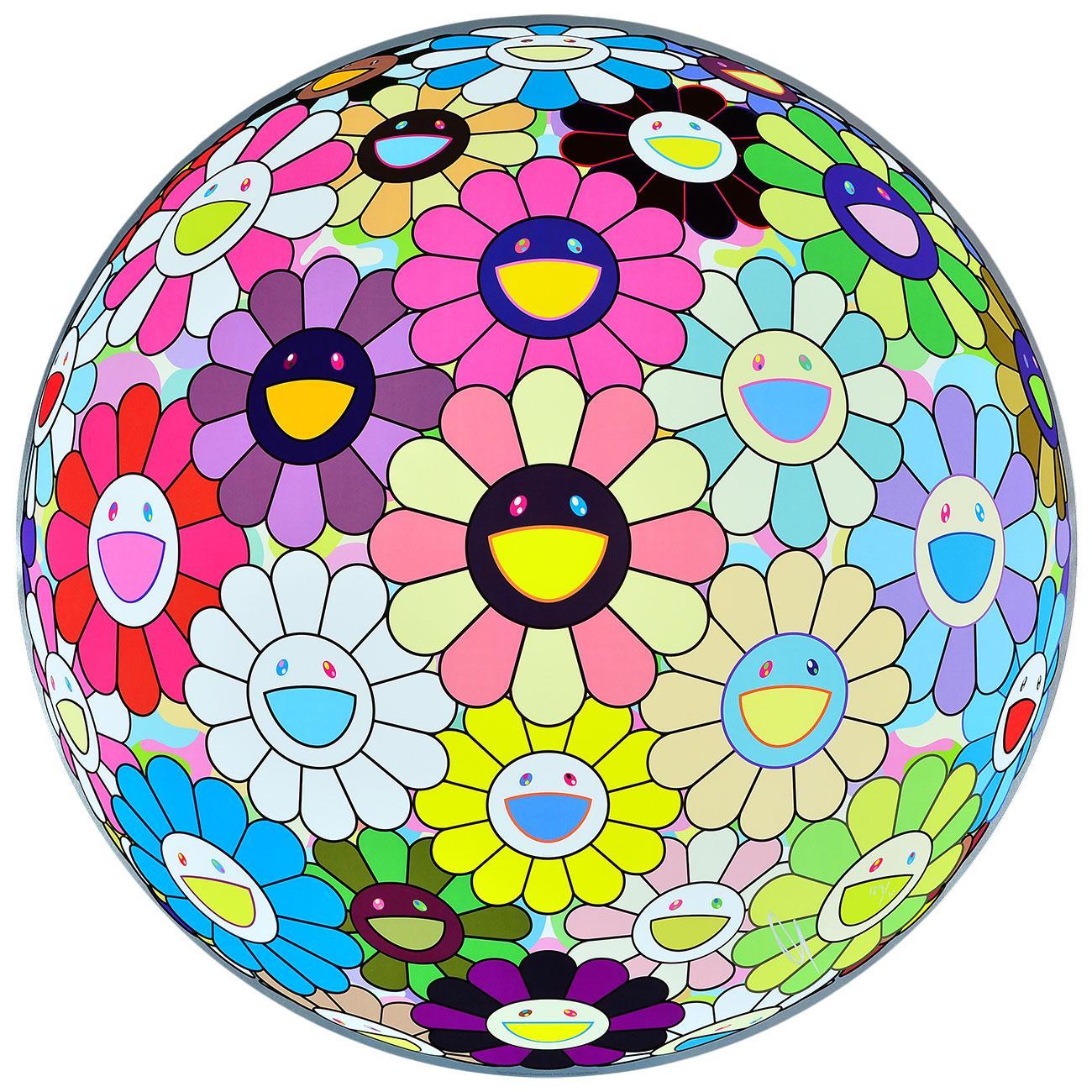 TAKASHI MURAKAMI: Flower Ball Limited ed. hand signed & numb. Superflat, Pop Art
