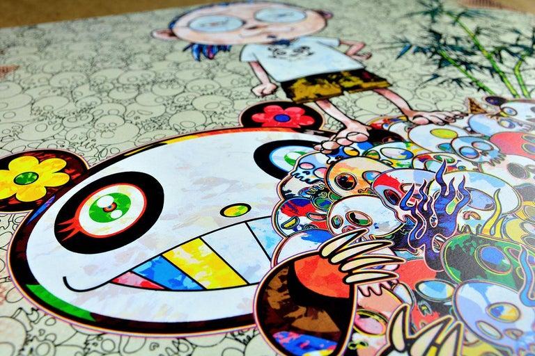 TAKASHI MURAKAMI: Panda Family and Me Hand signed & numbered. Superflat, Pop Art - Gray Figurative Print by Takashi Murakami