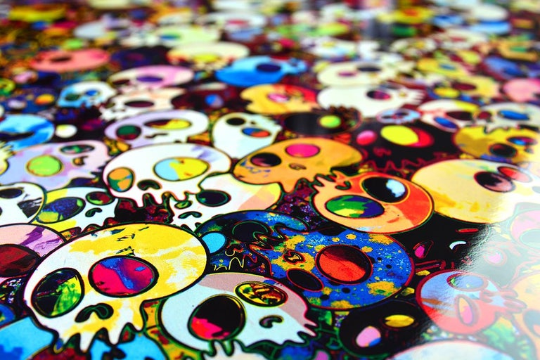 THERE ARE LITTLE PEOPLE INSIDE ME Date of creation: 2011 Medium: Offset print with silver and silkscreen with spot UV varnishing Edition: 300 Size: 66.5 x 56.4 cm Observations: Offset lithograph with cold stamp on paper signed by Takashi Murakami