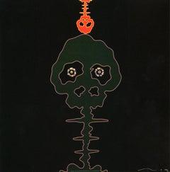 Takashi Murakami Time Bokan Black and Moss Green (Murakami prints)