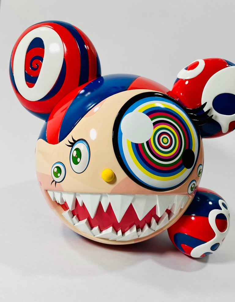 Takashi Murakami Complexcon 2016 Exclusive Mr Dob Red Blue Vinyl Art Toy New  - Beige Abstract Sculpture by Takashi Murakami