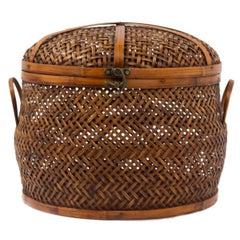 Takashimaya Vintage Woven Rattan & Bamboo Lidded Basket