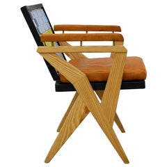 Take a Bow, Wood Armchair with Plastic Striped Back and Leather Pads