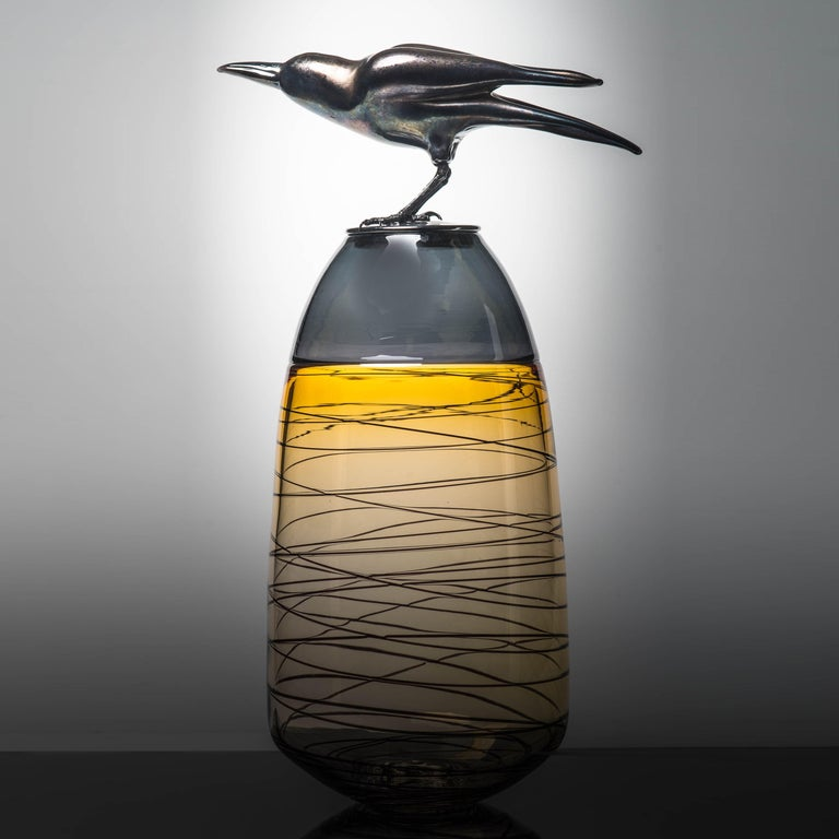 Organic Modern Take off, a Unique Glass Sculptural Vase with Black Crow by Julie Johnson For Sale
