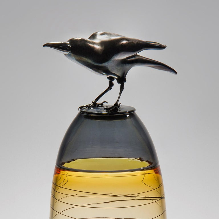 French Take off, a Unique Glass Sculptural Vase with Black Crow by Julie Johnson For Sale