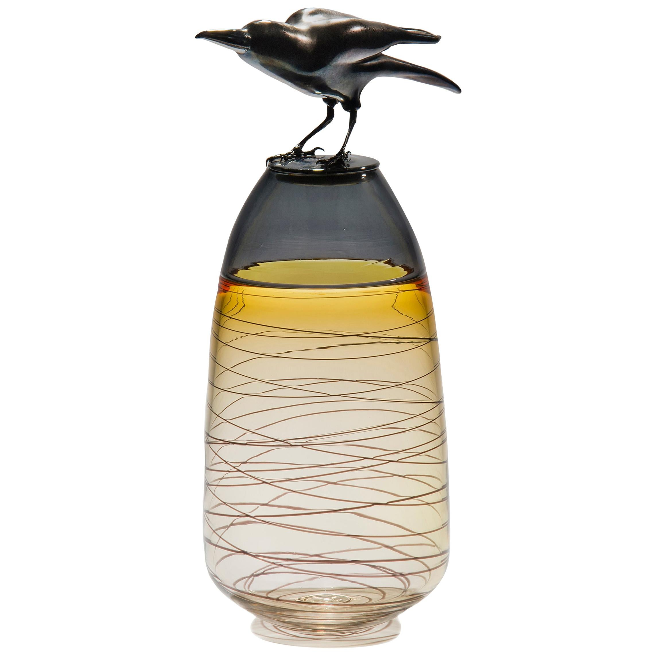 Take off, a Unique Glass Sculptural Vase with Black Crow by Julie Johnson