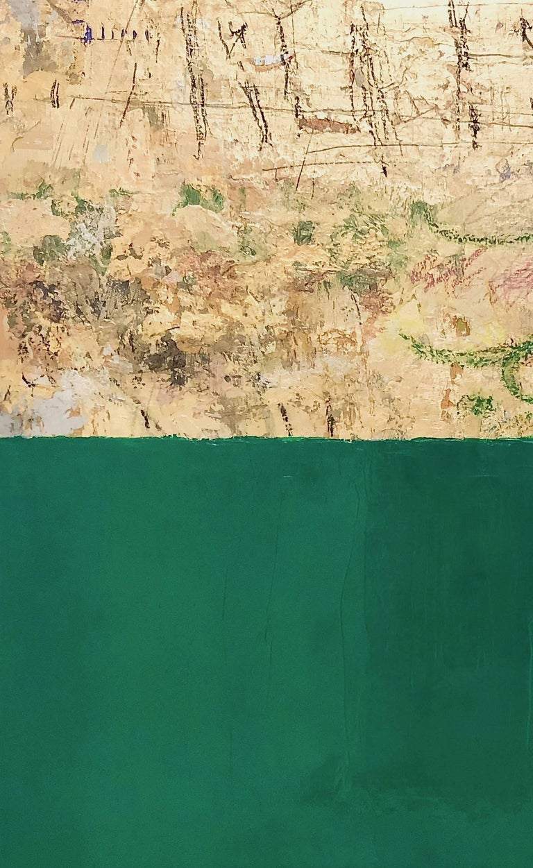 Gold and Color 56 green and gold leaf abstract - Painting by Takefumi Hori