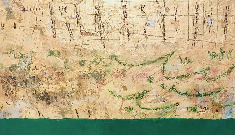 Gold and Color 56 green and gold leaf abstract - Contemporary Painting by Takefumi Hori