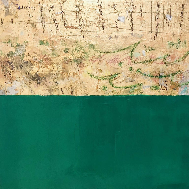 Takefumi Hori Abstract Painting - Gold and Color 56 green and gold leaf abstract