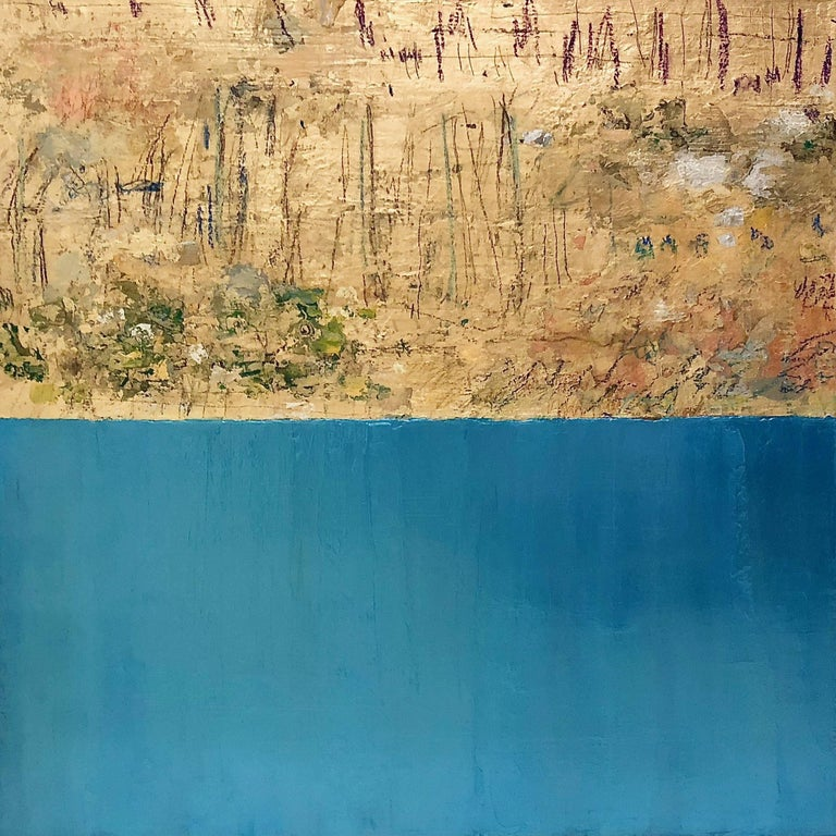 Takefumi Hori Abstract Painting - Gold and Gold Color No. 53, Metallic Blue abstract with gold leaf