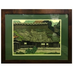 Takehiko Hironaga Rare Signed Limited Edition Japanese Woodblock Print, 1977