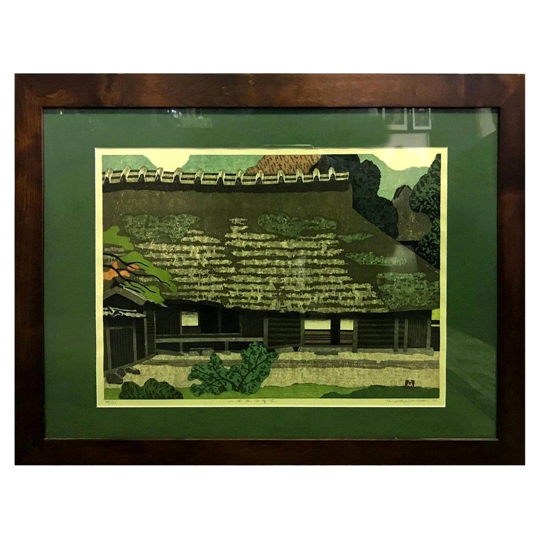Takehiko Hironaga Rare Signed Limited Edition Japanese Woodblock Print, 1977