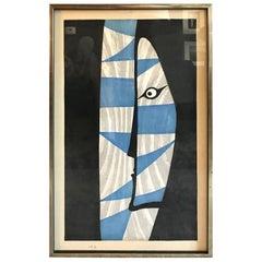 Takumi Shinagawa Signed Abstract Japanese Woodblock Print Kabuki Actor, 1953