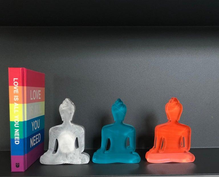 Tal Nehoray Figurative Sculpture - Buddha statues set of 3, hand painted plexiglass - Concrete, Turquoise, Orange