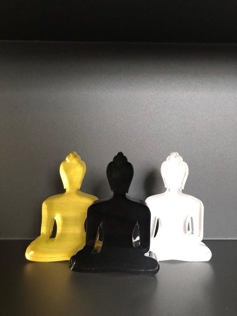 Tal Nehoray Figurative Sculpture - Buddha statues set of 3, hand painted plexiglass - Gold, White, Black