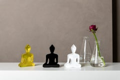Buddha statues set of 3, hand painted plexiglass - Gold, White, Black