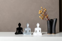 Buddha statues set of 3, hand painted plexiglass - Grey, White, Black
