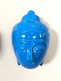 Contemporary buddha head sculpture - blue car paint