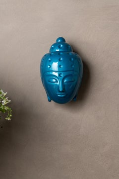 Contemporary buddha head sculpture - painted in turquoise car paint