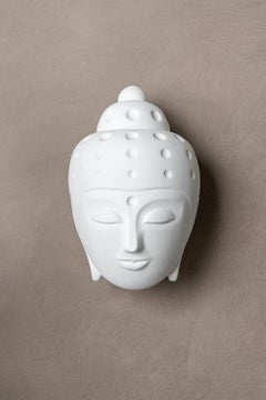 Contemporary buddha head sculpture - painted in white car paint