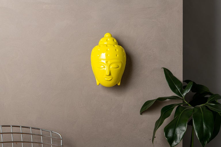 Contemporary buddha head sculpture - painted in yellow car paint For Sale 2
