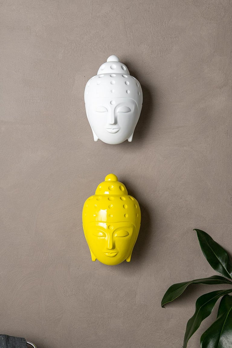 Contemporary buddha head sculpture - painted in yellow car paint For Sale 4