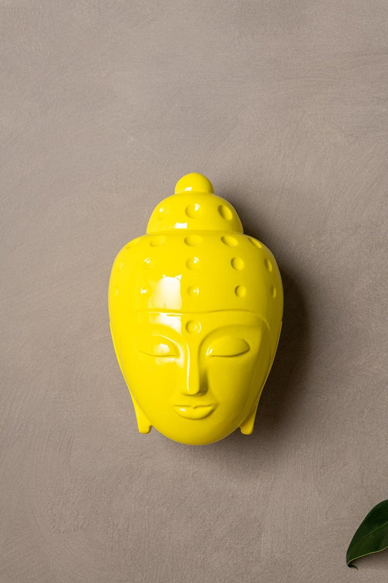 Tal Nehoray Figurative Sculpture - Contemporary buddha head sculpture - painted in yellow car paint