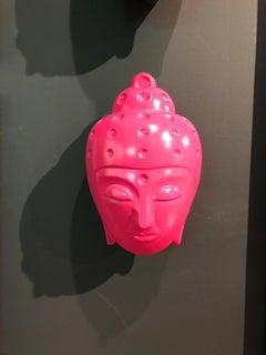 Floating Buddha head Statue - Bright Pink