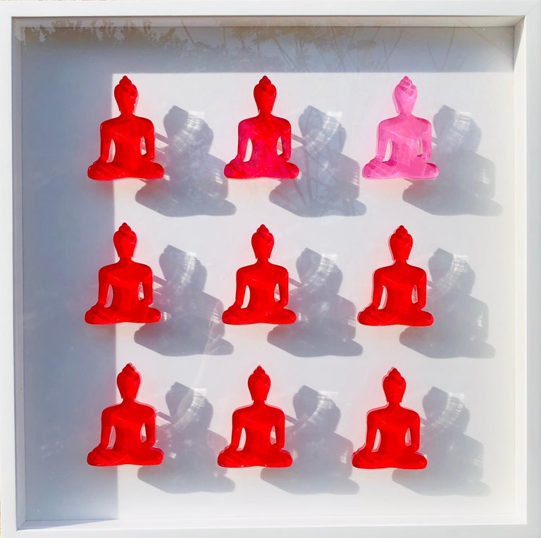Nine No. 10 & 11 - diptych pink and red buddha wall sculpture - Sculpture by Tal Nehoray