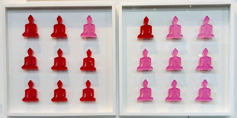Tal Nehoray Figurative Sculpture - Nine No. 10 & 11 - diptych pink and red buddha wall sculpture