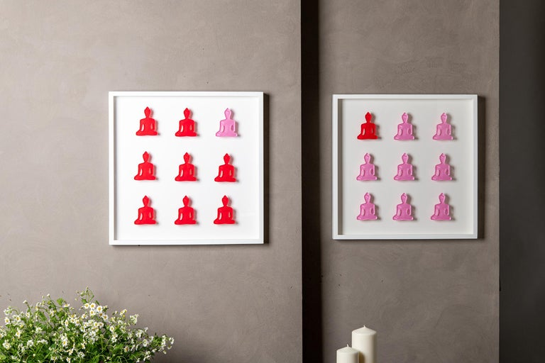 Nine No. 11 - red pink Buddha wall sculpture For Sale 5