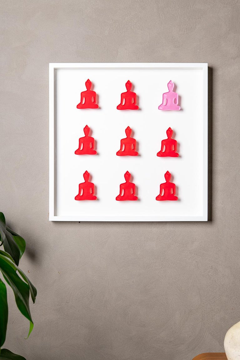 Nine No. 11 - red pink Buddha wall sculpture - Sculpture by Tal Nehoray