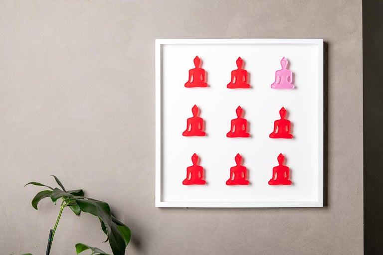 Nine No. 11 - red pink Buddha wall sculpture - Contemporary Sculpture by Tal Nehoray