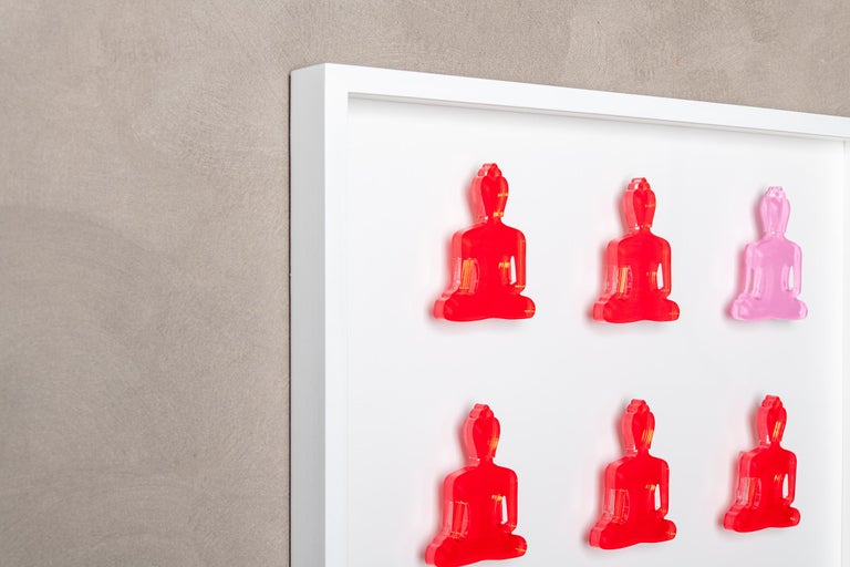 Nine No. 11 - red pink Buddha wall sculpture For Sale 1