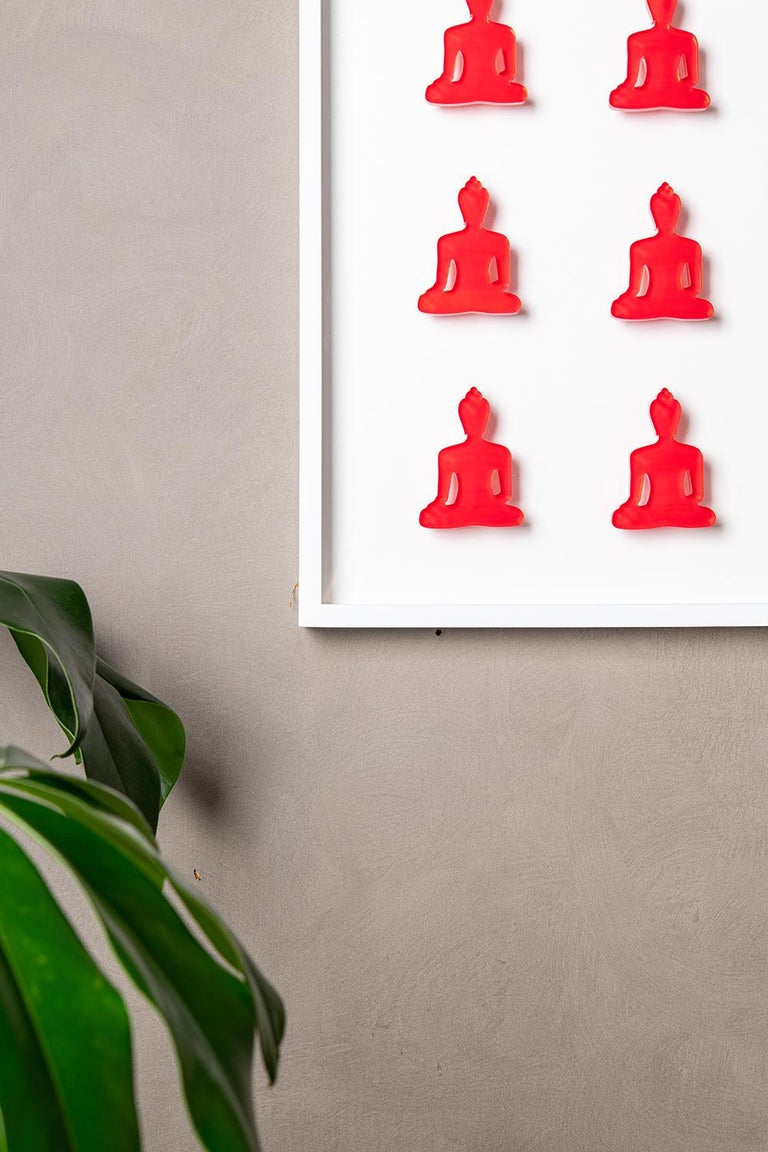 Nine No. 11 - red pink Buddha wall sculpture For Sale 2