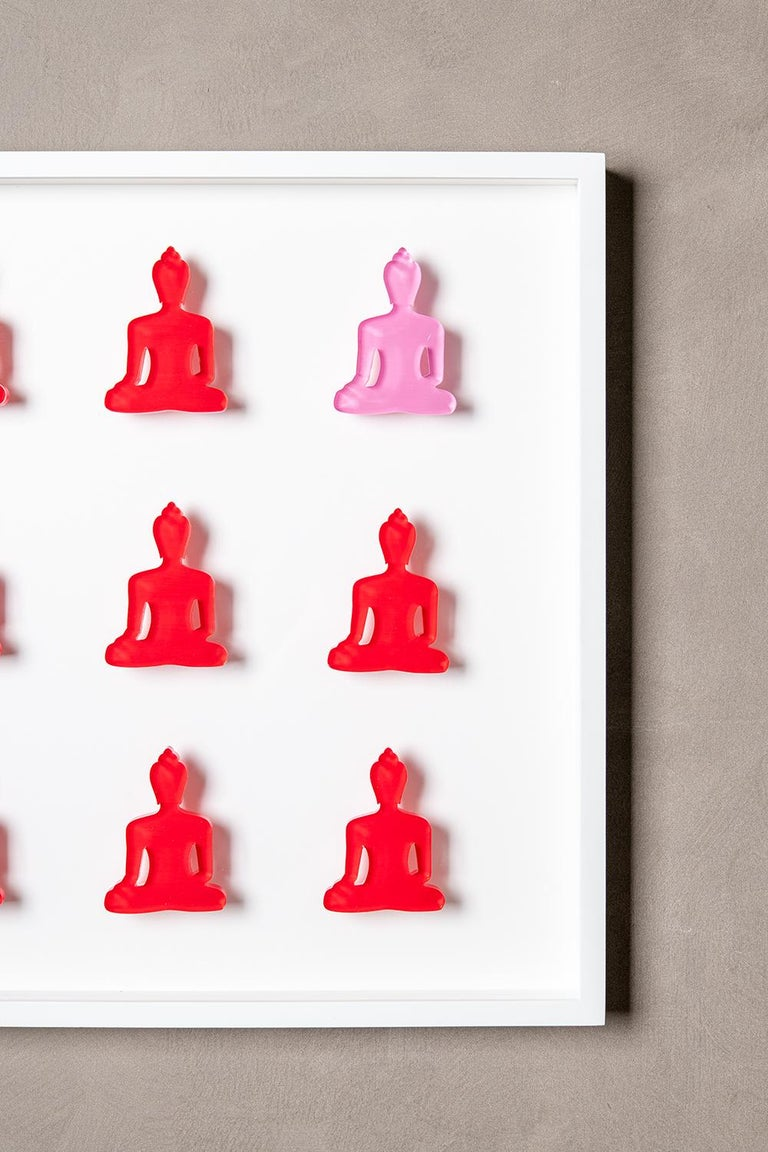 Nine No. 11 - red pink Buddha wall sculpture For Sale 3