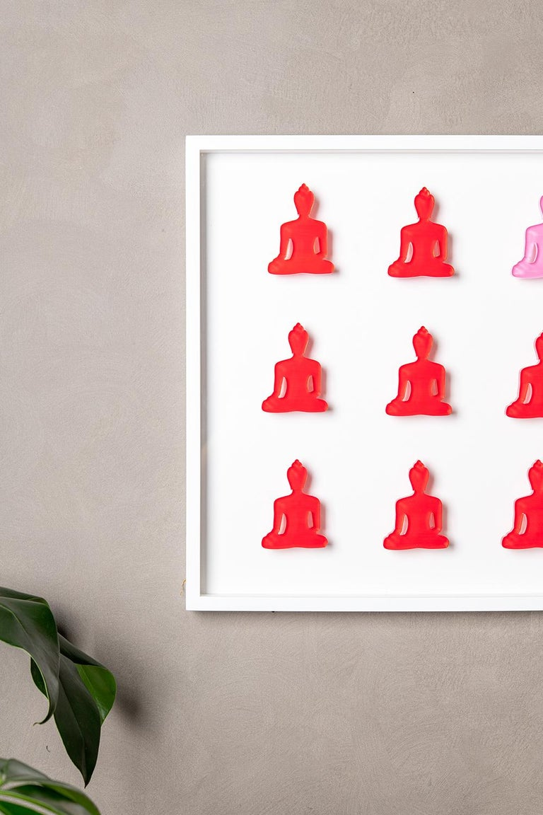 Nine No. 11 - red pink Buddha wall sculpture For Sale 4