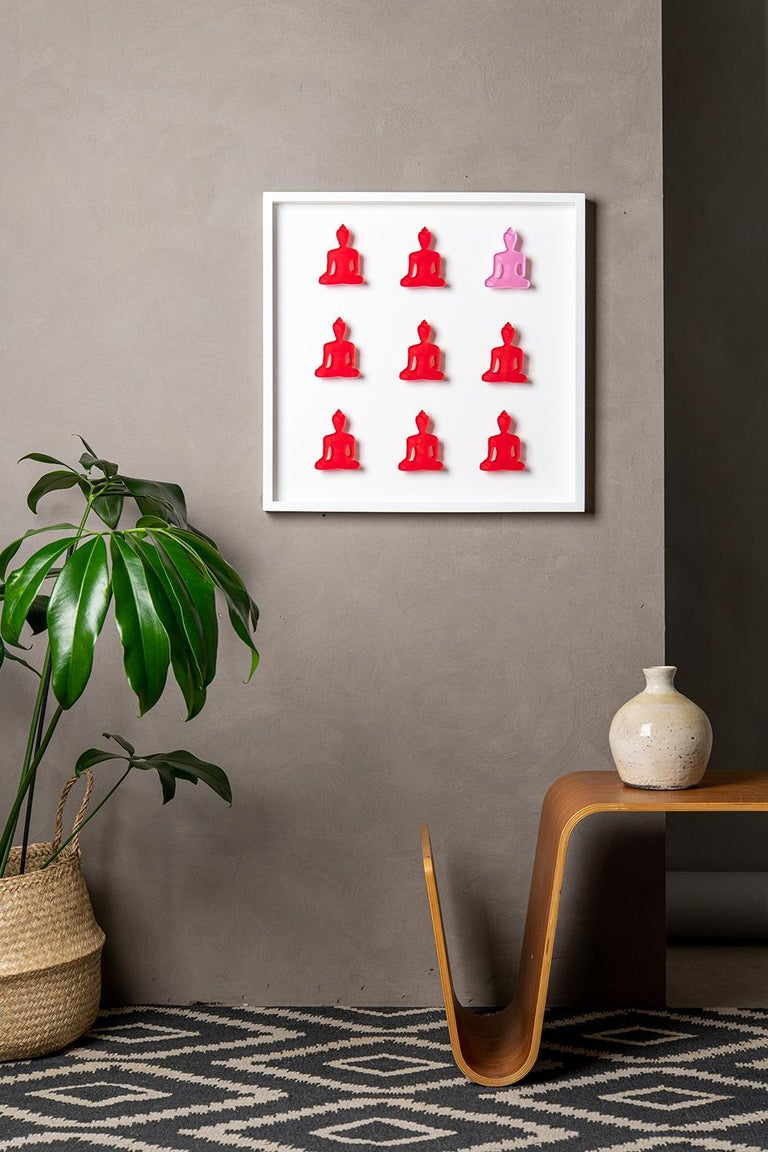 Tal Nehoray Figurative Sculpture - Nine No. 11 - red pink Buddha wall sculpture
