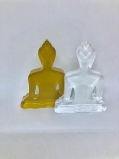 Buddha sculpture Duo (Gold and white Buddhas)