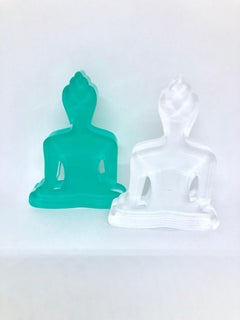 Buddha statue Duo (White and turquoise Buddhas sculpture)