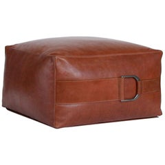 Leather Ottoman in Camel, Small, Talabartero Collection