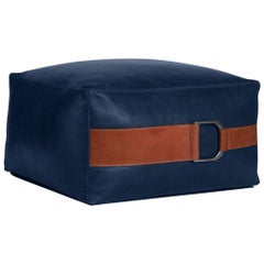 Leather Ottoman in Cobalt, Small — Talabartero Collection