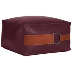 Leather Ottoman in Berry, Small — Talabartero Collection