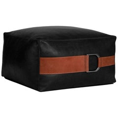 Leather Ottoman in Black, Large — Talabartero Collection