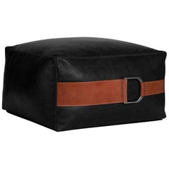 Leather Ottoman in Black, Small — Talabartero Collection